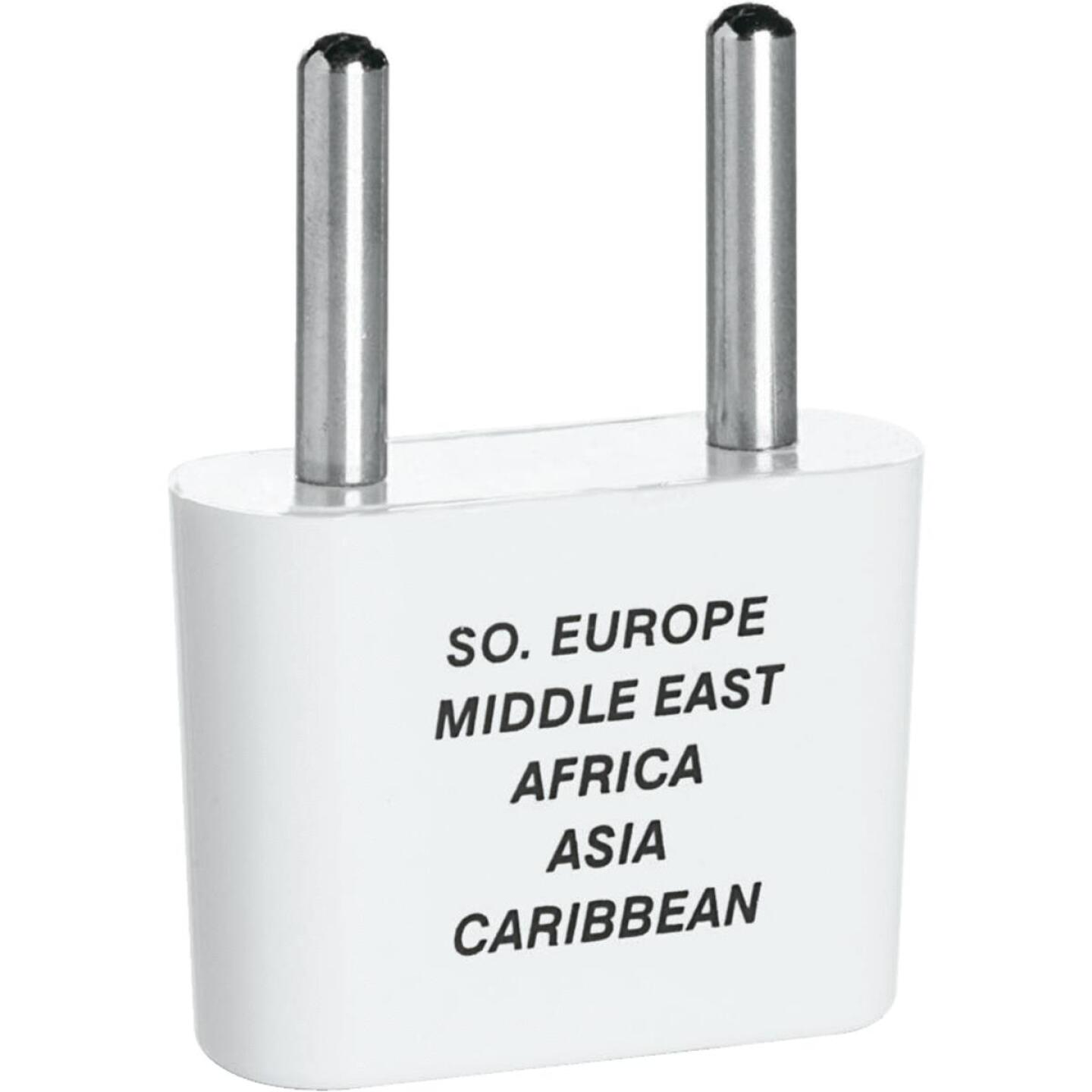 Franzus 2-Blade Thin Pin Foreign Adapter Plug, Europe/Africa/Middle East/Asia Image 1