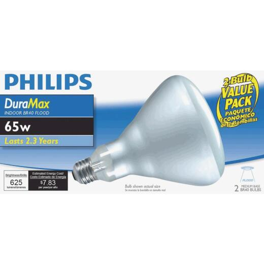 Philips DuraMax 65W Frosted Medium Base BR40 Incandescent Floodlight Light Bulb (2-Pack)