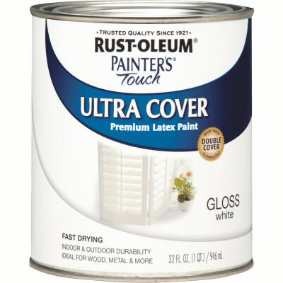Rust-Oleum Painter's Touch 2X Ultra Cover Premium Latex Paint, White Gloss, 1 Qt.